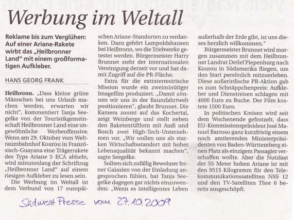 Artikel aus der Südwest Presse Ulm, vom 27.10.2009