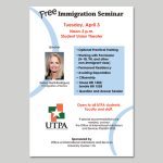 Plakat für Veranstaltung des Office of International Admissions and Services, UTPA